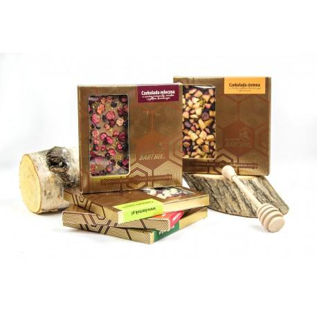 Belgijska czekolada mleczna z truskawkami, miodem i pyłkiem kwiatowym - 85 g