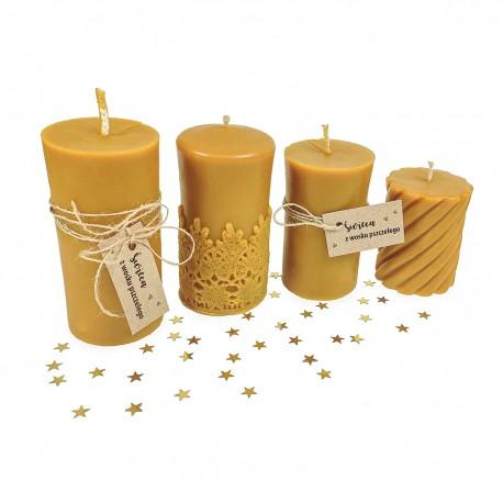 Beeswax candle with lace